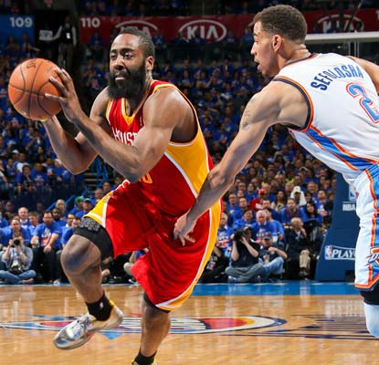 James Harden shrugs off an illness to hit his first seven 3-pointers on his way to a 31-point effort against his former team.  (Getty Images)