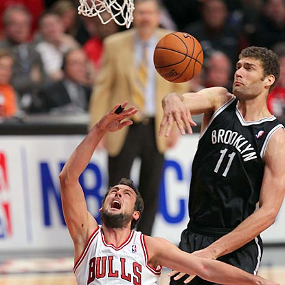 Brook Lopez and the Nets deny Marco Belinelli and the Bulls the chance to clinch the series in Chicago.  (USATSI)