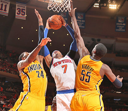 The Pacers hold Carmelo Anthony to 10-of-28 shooting from the field, yet the Knicks' superstar still finishes with 27 points. (Getty Images)