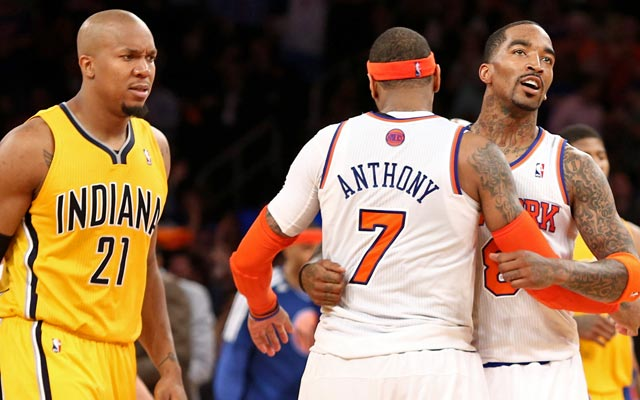 David West and the Pacers crumble late, giving the Knicks some life. (USATSI)