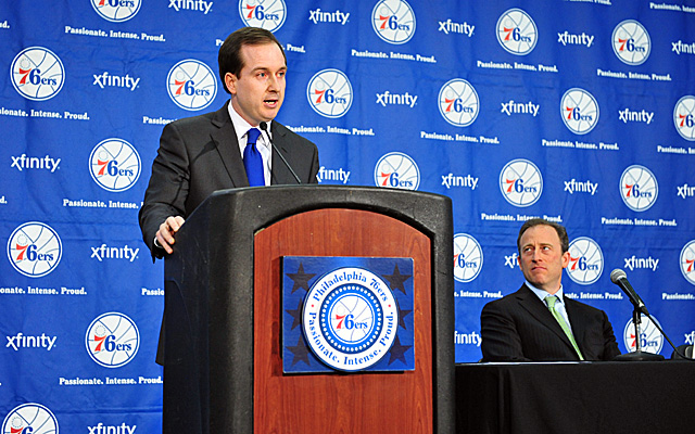 Sixers owner Josh Harris, who backed Hinkie for job, welcomes the new president and GM aboard. (Getty Images)