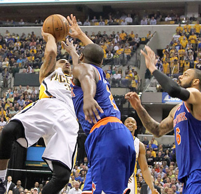 George Hill scores a game-high 26 points as the Pacers put the Knicks on the brink of elimination. (USATSI)