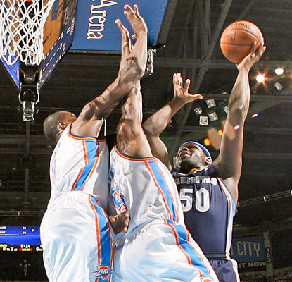 The Thunder have no answer for Zach Randolph, who finishes with 28 points and 14 boards. (Getty Images)