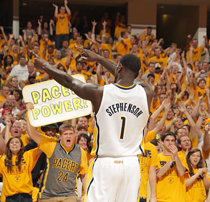 Pacers fans love the effort by Lance Stephenson, who scores a career playoff-high 23 points, including nine late in the fourth. (Getty Images)