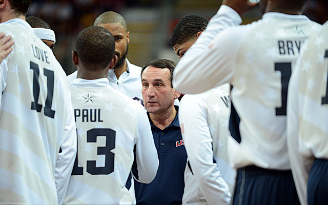 Under Mike Krzyzewski, the U.S. Olympic hoops teams has gone 62-1 in international competition. (Getty Images)