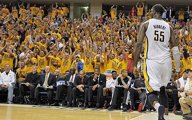 Roy Hibbert gets Indy fans out of their seats by controlling the paint. (USATSI)