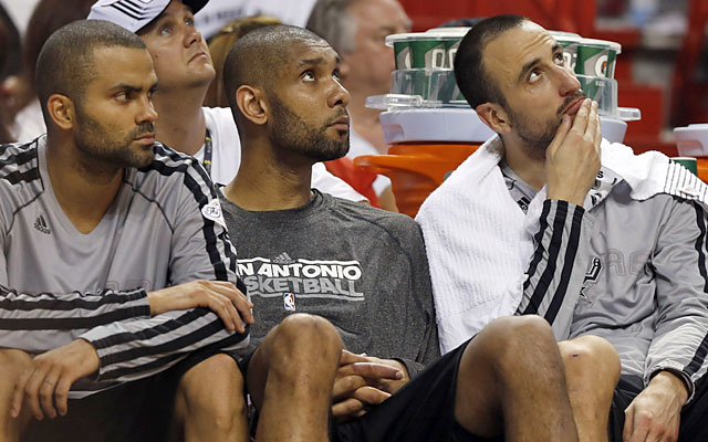 Tony Parker, Tim Duncan and Manu Ginobili finish a combined 10 for 33 from the floor for 27 points. (USATSI)