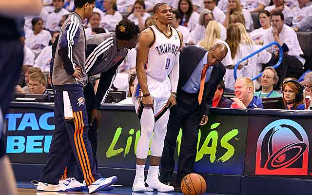 Russell Westbrook hurts his knee in the playoffs and since has had two 'successful' operations. (USATSI)
