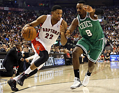 Rudy Gay scores 19 points and grabs eight rebounds to help the Raptors win their opener against the Celtics. (USATSI)