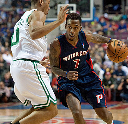 Brandon Jennings comes off the bench for the Pistons to score 14 points in 31 minutes of play against Boston. (USATSI)