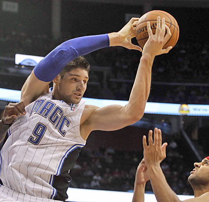 Nik Vucevic dominates for the Magic. The third-year center finishes with 30 points and 21 rebounds -- both game highs. (USATSI)