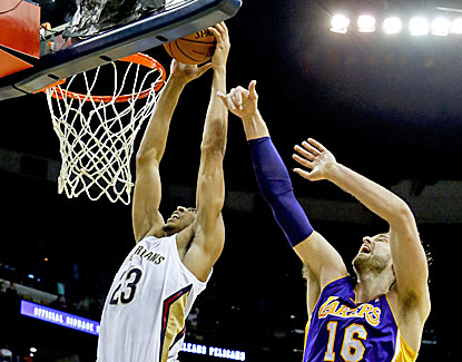 Anthony Davis (left) gets the best of Pau Gasol, and New Orleans beats the Lakers for the first time since March 2010.  (USATSI)