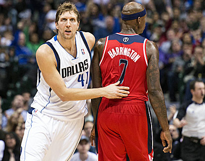 Dallas' Dirk Nowitzki drains a third-quarter jumper to pass Jerry West on the NBA all-time scoring list. (USATSI)