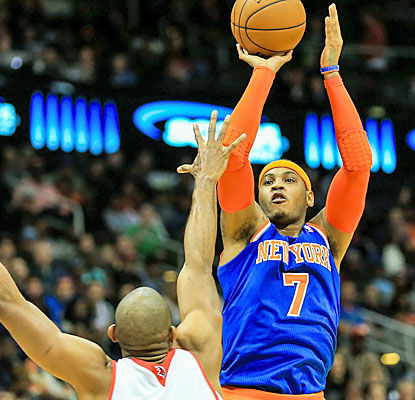 Melo (25 points) leads the way for the Knicks, who overcome a poor third quarter to beat the Hawks. (USATSI)