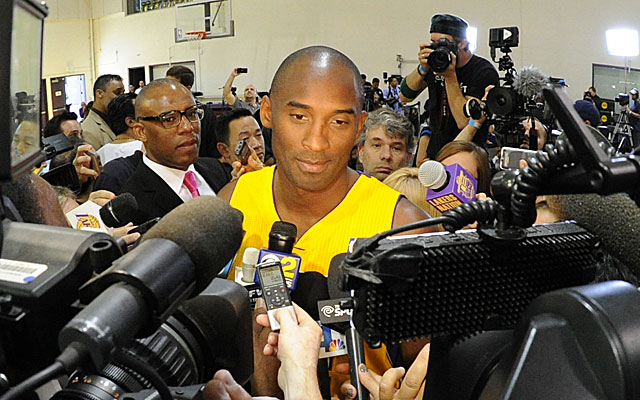 Kobe Bryant at Lakers media day in September. (USATSI)