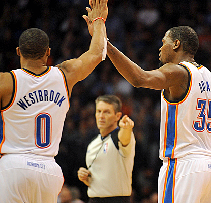 Russell Westbrook and Kevin Durant combine for 68 points as the Thunder hold off a tough Denver team.  (USATSI)