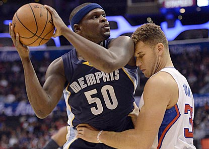 Blake Griffin and the Clippers find Zach Randolph hard to contain on a night when he shoot 10 for 16 from the floor.  (USATSI)