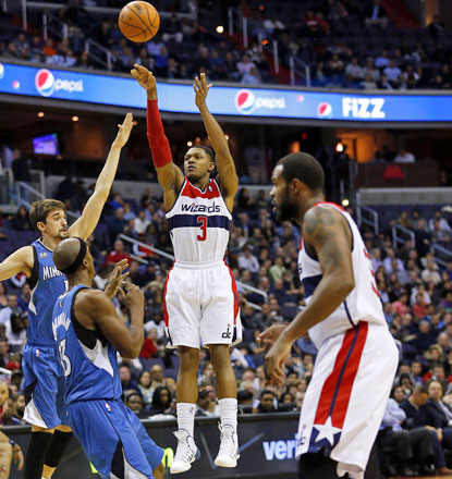 Bradley Beal launches the ball for a pair of his 25 points in the win against the Wolves. (USATSI)