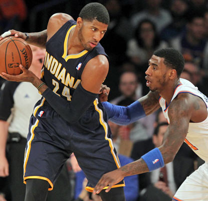Paul George scores a season-high 35 points, nine coming in overtime, to carry the Pacers at the Garden.  (USATSI)