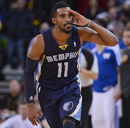 Memphis' Mike Conley salutes after connecting on one of the two field goals he makes during the overtime period.  (USATSI)