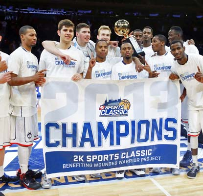 The Huskies deal the Hoosiers their first loss of the season while winning the 2K Sports Classic final at MSG.  (USATSI)