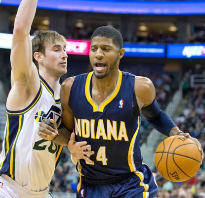 Paul George outplays Gordon Hayward and the Pacers grind out a win in Utah for the first time since 2005.  (USATSI)