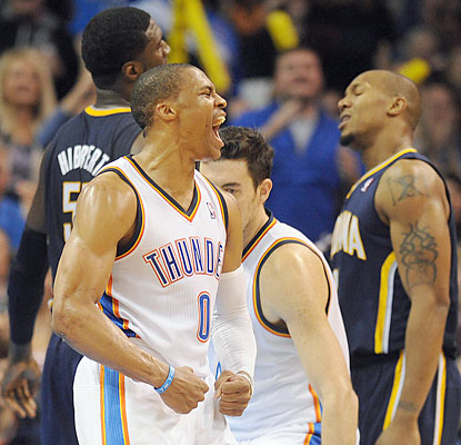 Russell Westbrook (26 points) and the Thunder have their way with the Pacers, who play on back-to-back nights. (USATSI)