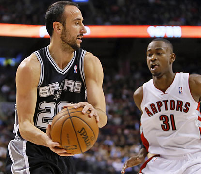 Spurs veteran Manu Ginobili provides 16 points and nine assists in 23 minutes of action. (USATSI)