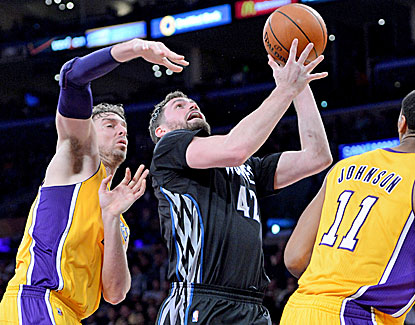 The Lakers hold Minnesota's Kevin Love scoreless in the fourth quarter en route to a 104-91 win. (USATSI)