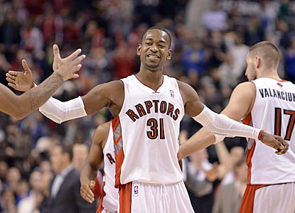 Terrence Ross, celebrating a breakaway basket in the fourth quarter, scores 18 points for Toronto on 6-of-12 shooting.  (USATSI)