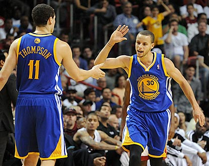Klay Thompson and Stephen Curry combine for 52 points and help Golden State win in Miami for the second successive season.  (USATSI)