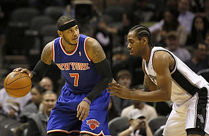 After missing three games with an ankle injury, Carmelo Anthony scores 27 points against Kawhi Leonard and the Spurs.  (AP)