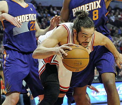 Depleted roster or not, Joakim Noah (14 points, 16 rebounds) and the Bulls find a way to squeeze past the talented Suns. (USATSI)