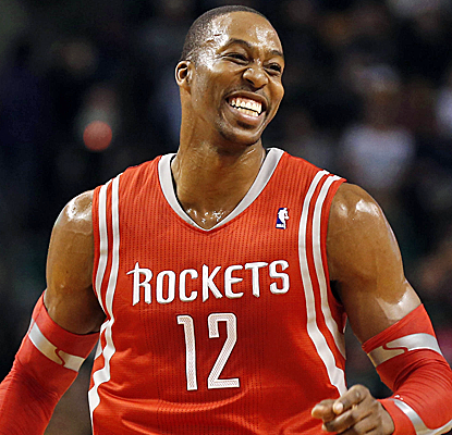 Dwight Howard is all smiles after dominating the Celtics to the tune of 32 points and 12 rebounds in a Rockets victory.  (USATSI)