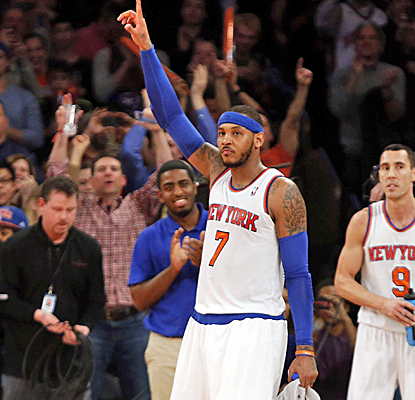 Carmelo Anthony scores a Knicks record 62 points passing Bernard King while shooting 23-35 from the field.  (USATSI)