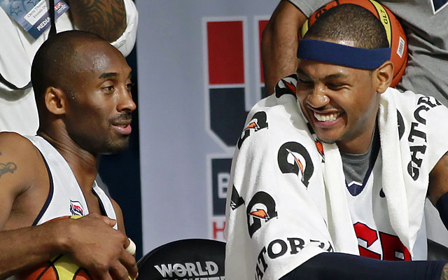 Kobe says Melo is a great player, but a title will put him in another stratosphere.  (USATSI)