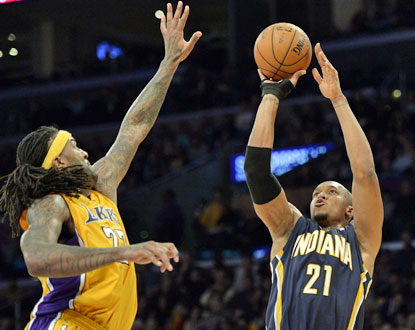 David West, who scores a team-high 19 points, is one of six Pacers to reach double figures against Los Angeles. (USATSI)
