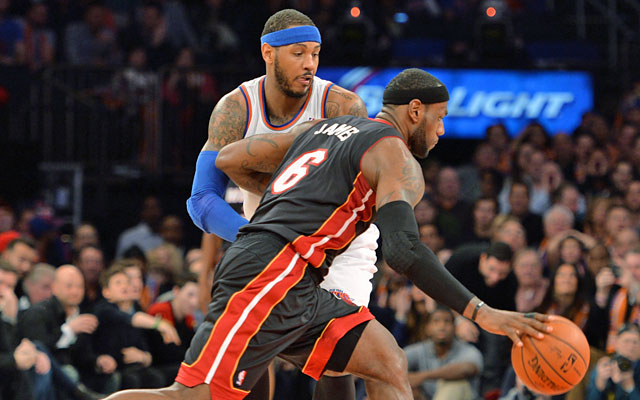 Melo and LeBron both formed super teams. James has two rings; Anthony is going nowhere in NYC. (USATSI)
