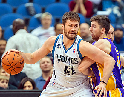 Minnesota's Kevin Love scores 31 points and grabs 17 rebounds in the Timberwolves' win over the Lakers. (USATSI)
