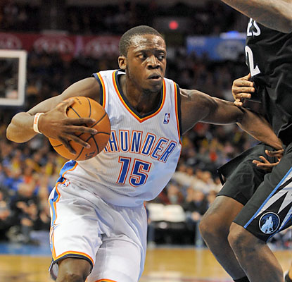 Reggie Jackson contributes 20 points and nine assists as the Thunder take down the Kevin Love-less Wolves. (USATSI)