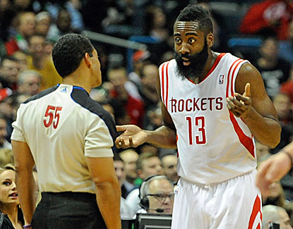 James Harden, who scores 22 points, pleads his case with an official in the Rockets' victory over Milwaukee. (USATSI)