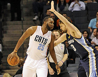 Al Jefferson has a tough night, going 2 of 13 from the field, but the Bobcats hold off Memphis at home. (USATSI)