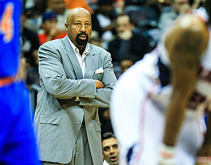Mike Woodson looks less than pleased as the Knicks fall 5 1/2 games behind Atlanta for the No. 8 seed in the East. (USATSI)