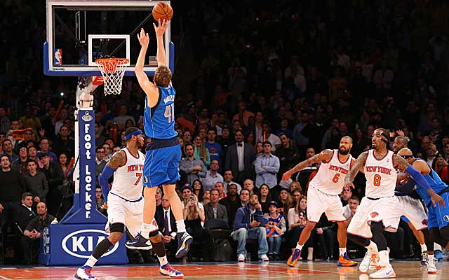 The Knicks can only watch as Dirk Nowitzki drives final nail in another loss. (USATSI)