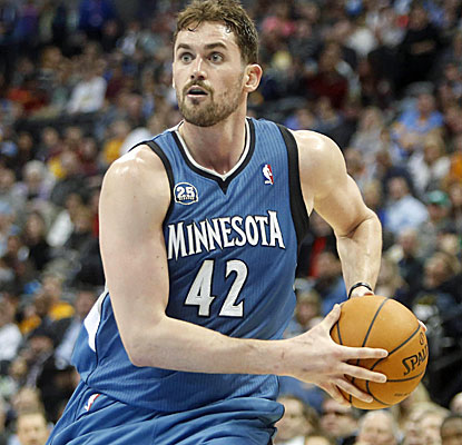 Kevin Love racks up his league-leading 50th double-double of the season in a Timberwolves victory.  (USATSI)