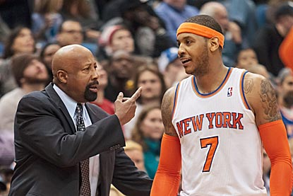 Mike Woodson and Carmelo Anthony finally feel some relief after the Knicks win for the first time since Feb. 19.  (USATSI)