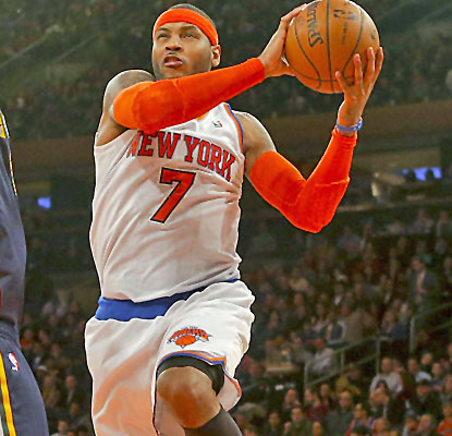 Carmelo Anthony gets the Knicks off to a fast start with 18 points in the first quarter vs. the Jazz.  (USATSI)