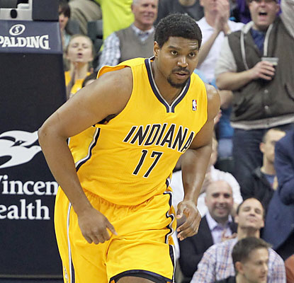 Andrew Bynum makes his highly anticipated Pacers debut, finishing with eight points and a season-high 10 boards. (USATSI)