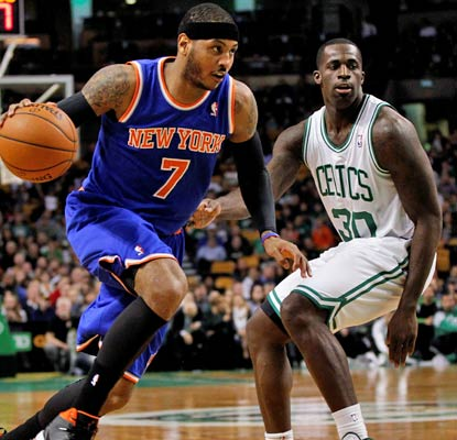 Carmelo Anthony goes off in the first half for 19 points, finishing with 34 in a blowout win over the Celtics.  (USATSI)