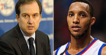 Sam Hinkie and Evan Turner (USATSI)